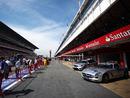 A sunny pit lane at the Circuit de Catalunya
